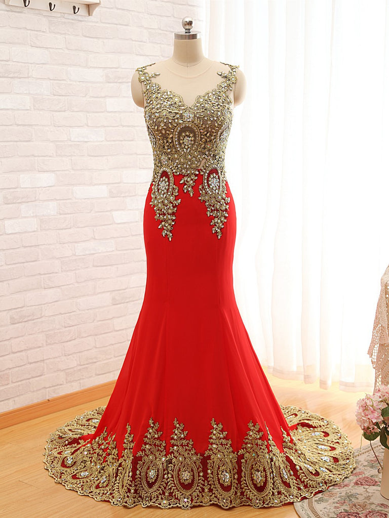 Black Trumpet Sweep Train Sheer Neck Sleeveless Peacock Embroidered Beading Prom Dress,Evening Dress P94 - Ombreprom