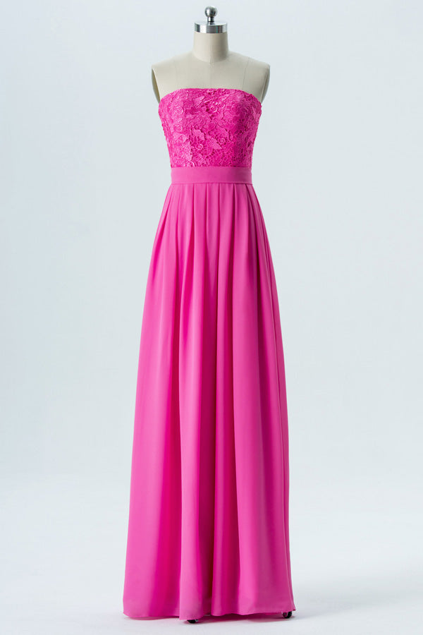 Peony A Line Floor Length Straight Strapless Sleeveless Lace Appliques Cheap Bridesmaid Dresses