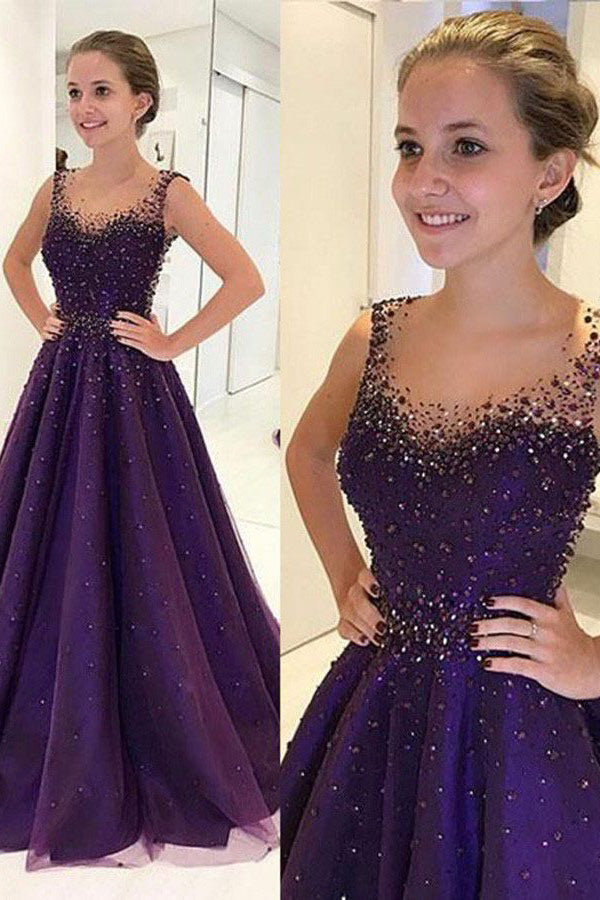 Purple A Line Floor Length Sccop Neck Sleeveless Beading Prom Dress,Party Dress P522 - Ombreprom