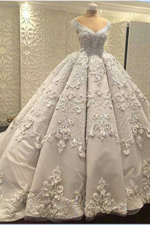 d476c98bcaf71b Gorgeous Sleeveless V Neck Lace Appliques Ball Gown Wedding Dress W441