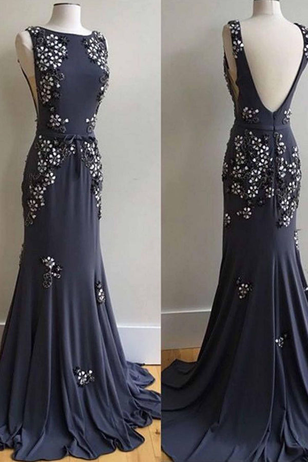 Sheath Brush Train Scoop Neck Sleeveless Backless Beading Prom Dress,Party Dress