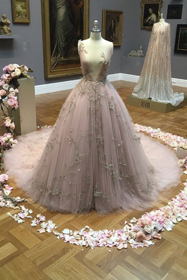 Ball Gown Court Train Deep V Neck Sleeveless Layers Tulle Appliques Prom Dress,Party Dress P365 - Ombreprom