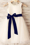 White A Line Floor Length Sleeveless Zipped Back Ribbon Flower Girl Dresses,Baby Dress