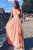 Pink A Line Floor Length Sweetheart Spaghetti Sleeveless Side Slit Prom Dress,Party Dress