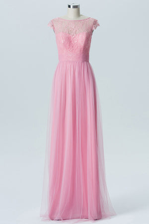 English Rose A Line Floor Length Sheer Neck Capped Sleeve Appliques Cheap Bridesmaid Dresses