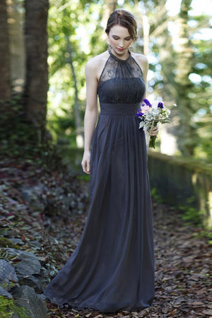 A Line Floor Length Halter Sleeveless Lace Bridesmaid Dress, Wedding Party Dress B311 - Ombreprom