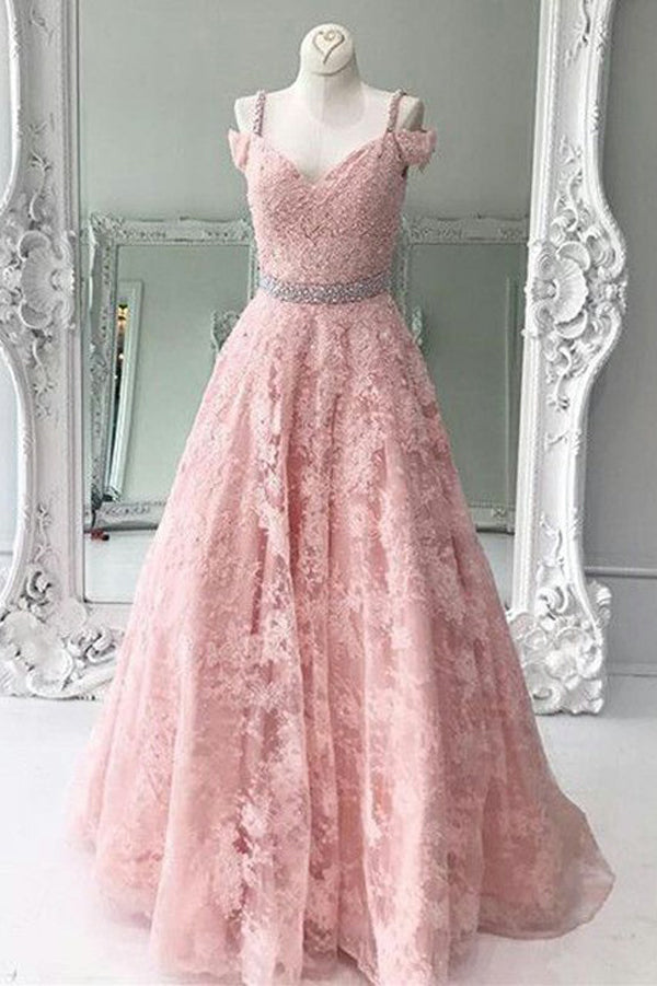 Pink A Line Floor Length Sweetheart Sleeveless Appliques Lace Prom Dress,Party Dress