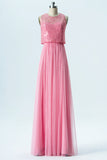 English Rose A Line Floor Length Jewel Neck Sleeveless Appliques Cheap Bridesmaid Dresses