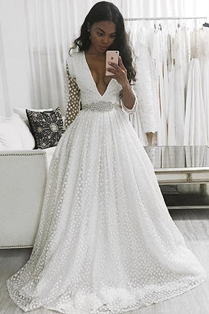 White A Line Sweep Train Deep V Neck Long Sleeve Beading Belt Prom Dress,Wedding Dress