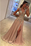 A Line Brush Train Deep V Neck Sleeveless Appliques Side Slit Prom Dress,Party Dress P510 - Ombreprom
