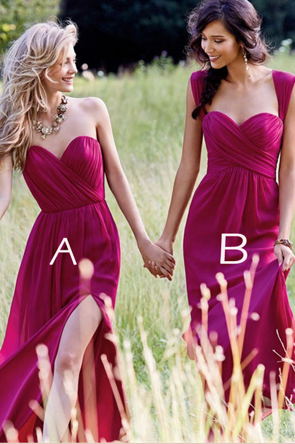 Burgundy A Line Floor Length Sleeveless Chiffon Cheap Bridesmaid Dresses B257 - Ombreprom