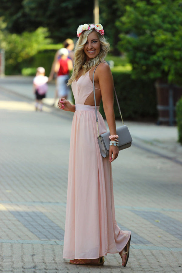 Pink A Line Floor Length Deep V Neck Sleeveless Backless Chiffon Prom Dress,Formal Dress P301 - Ombreprom