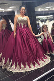 Burgundy A Line Brush Train Sweetheart Sleeveless Appliques Plus Size Prom Dresses S20 - Ombreprom
