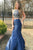 Two Piece Navy Blue Mermaid Brush Train Sleeveless Backless Beading Prom Dress,Party Dress