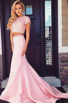 Pink Two Piece Trumpet Sweep Train Short Sleeve Beading Prom Dress,Formal Dress