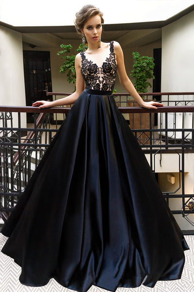 Black A Line Brush Train Sleeveless Appliques Prom Dress,Party Dress P506 - Ombreprom