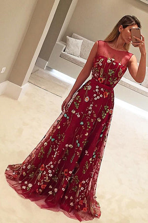 Burgundy A Line Brush Train Sheer Neck Sleeveless Floral Prom Dress,Party Dress P434 - Ombreprom
