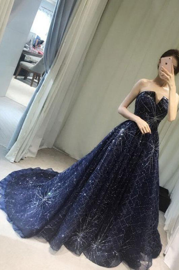 Navy Blue A Line Court Train Curve Sleeveless Sparkle Long Prom Dress,Party Dress