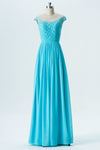 A Line Floor Length Sheer Neck Capped Sleeve Lace Appliques Cheap Bridesmaid Dresses