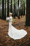 White Sheath Court Train Jewel Neck Long Sleeve Appliques Wedding Gown,Cheap Wedding Dress