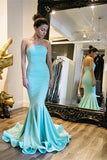 Blue Mermaid Sweep Train Strapless Sleeveless Mid Back Prom Dress,Formal Dress P147 - Ombreprom
