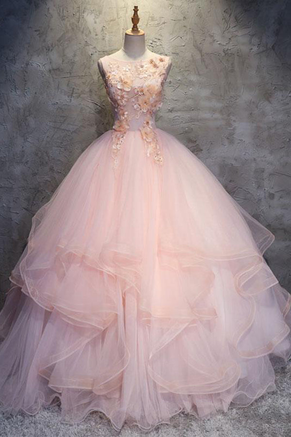 Pink Ball Gown Floor Length Sleeveless Layers Tulle Ruffles Floral Prom Dress,Party Dress