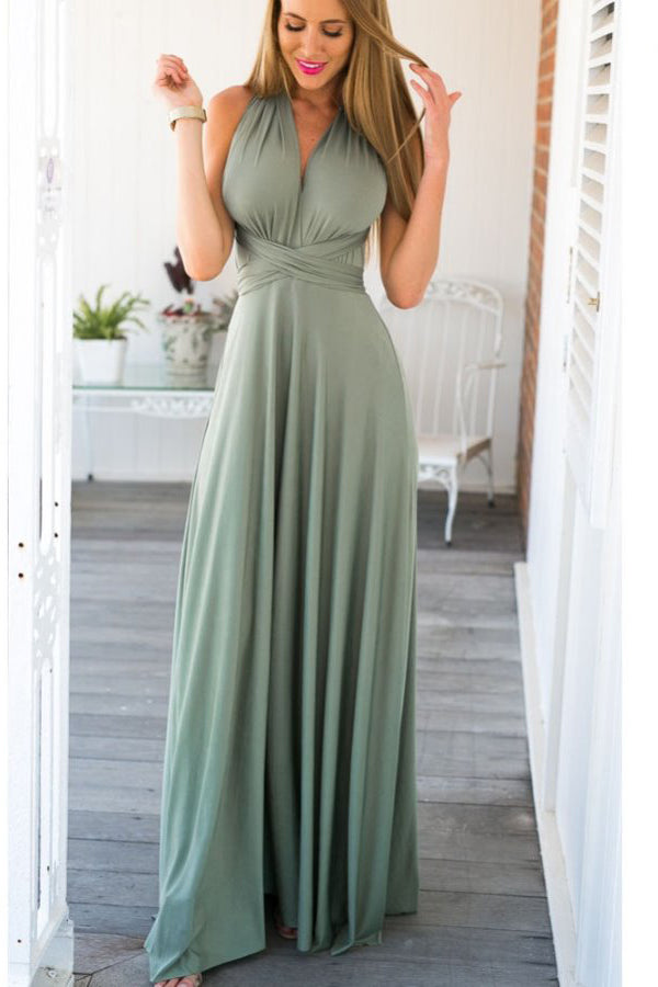 Soft A line Floor Length Sleeveless Open Back Prom Dress,Formal Dress