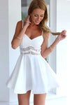 White A Line Sweetheart Spaghetti Sleeveless Mid Back Short Homecoming Dress