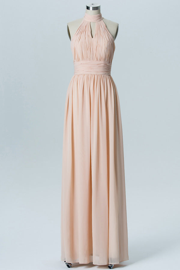 Blush A Line Floor Length Halter Sleeveless Chiffon Cheap Bridesmaid Dresses B163 - Ombreprom