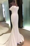 White Sheath Court Train Sweetheart Off Shoulder Mid Back Long Prom Dress,Party Dress