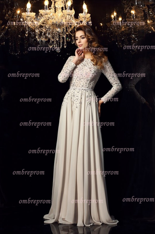 A Line Brush Train Long Sleeve Backless Beading Chiffon Prom Dress,Party Dress P375 - Ombreprom