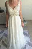 Sleeveless Deep V Neck Beach Wedding Gowns,Sequins Beading Cheap Wedding Dress