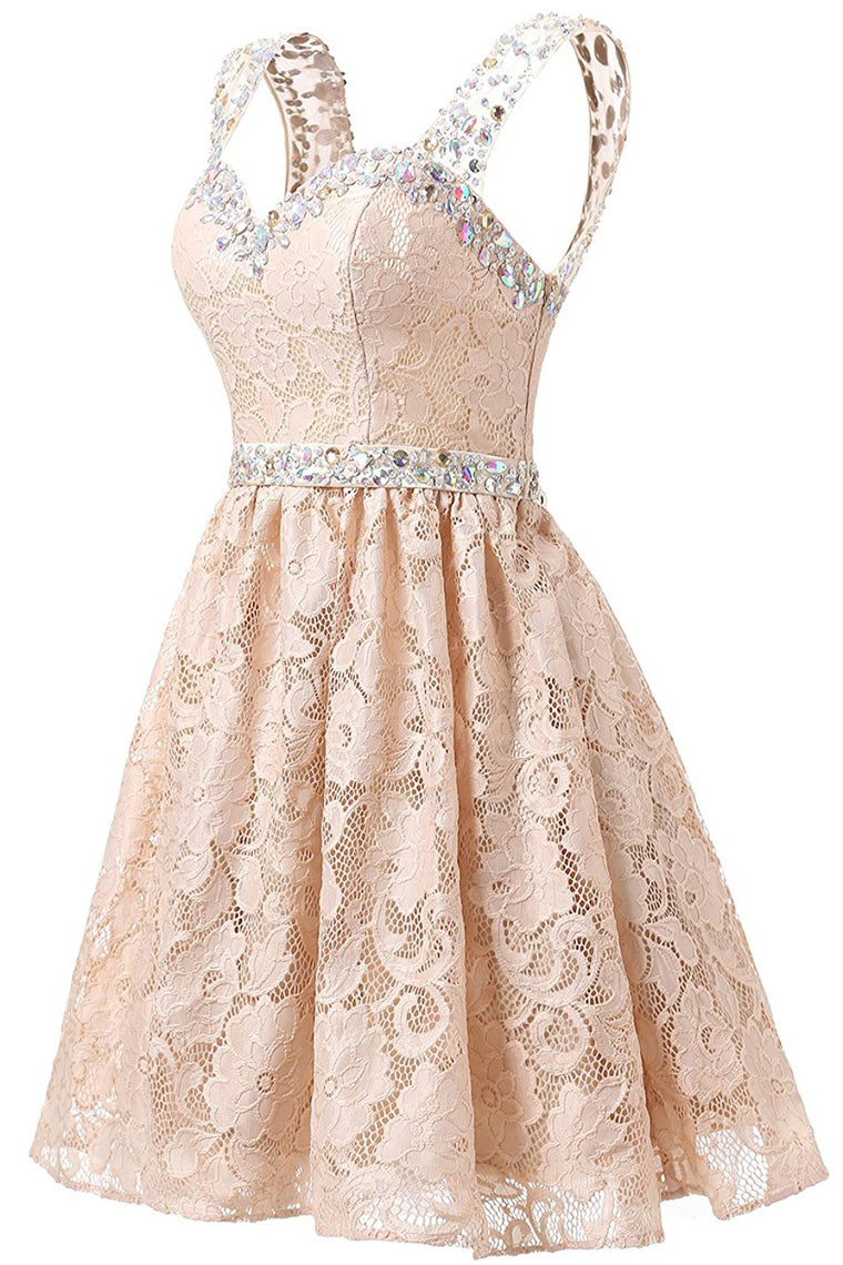 Gorgeous A Line Straps Knee Length Lace With Beading Homecoming Dress M484