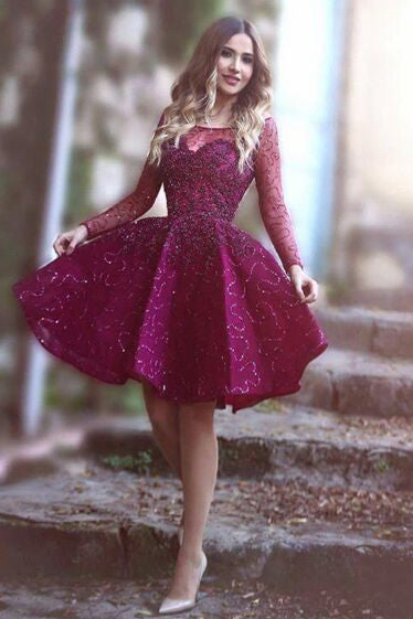 Sparkly Sequins Long Sleeve Bateau Homecoming Party Gowns, Short Prom Dresses M320