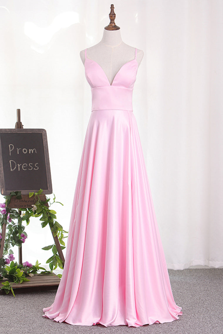Charming Deep V Neck Straps Satin Floor Length Prom Dresses P613 - Ombreprom