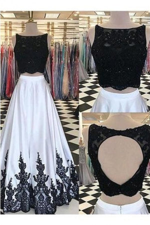 Simple Lace Black And White Satin Two Pieces Open Back Prom Dress