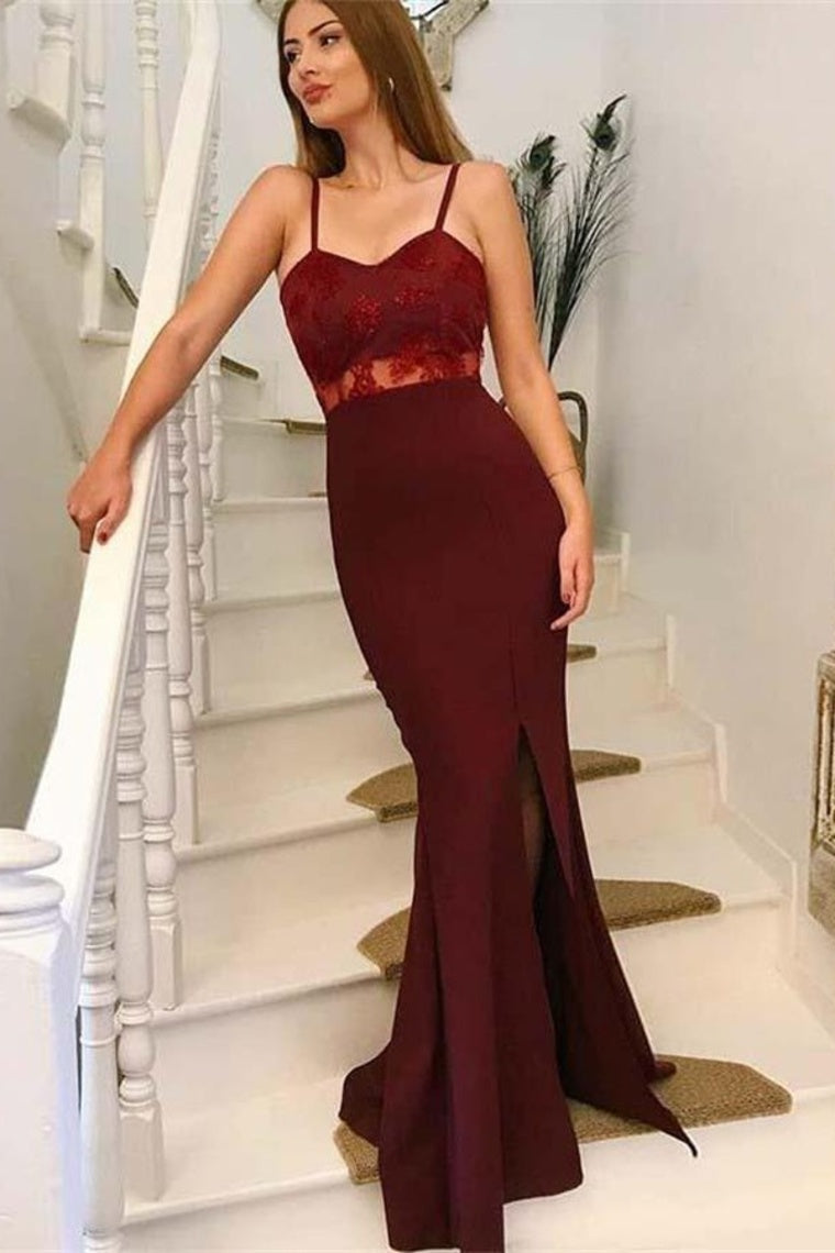Burgundy Spaghetti Straps Sweetheart Mermaid Prom Dress with Split Side P846