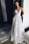 Charming Spaghetti Straps Sleeveless Lace Appliques Sweep Train Wedding Dress W444