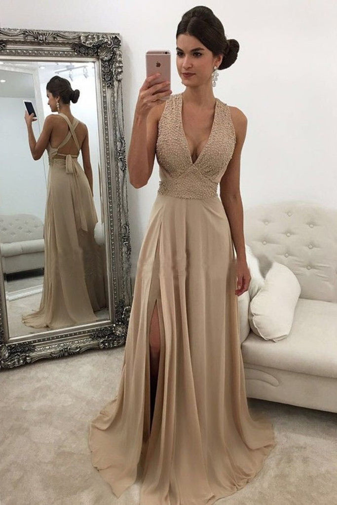 Chic Chiffon Open Back V Neck Beading Floor Length Prom Dress with Split P848