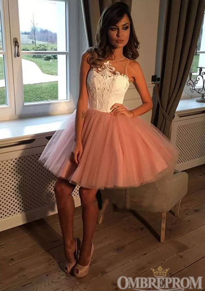 Cute Round Neck Sleeveless Lace Short Prom Dress M648