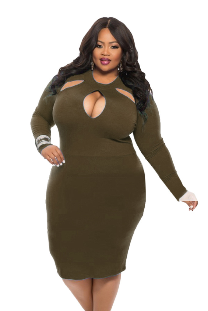 Long Sleeve Plus Size Jumpsuit Party Dress FP3402