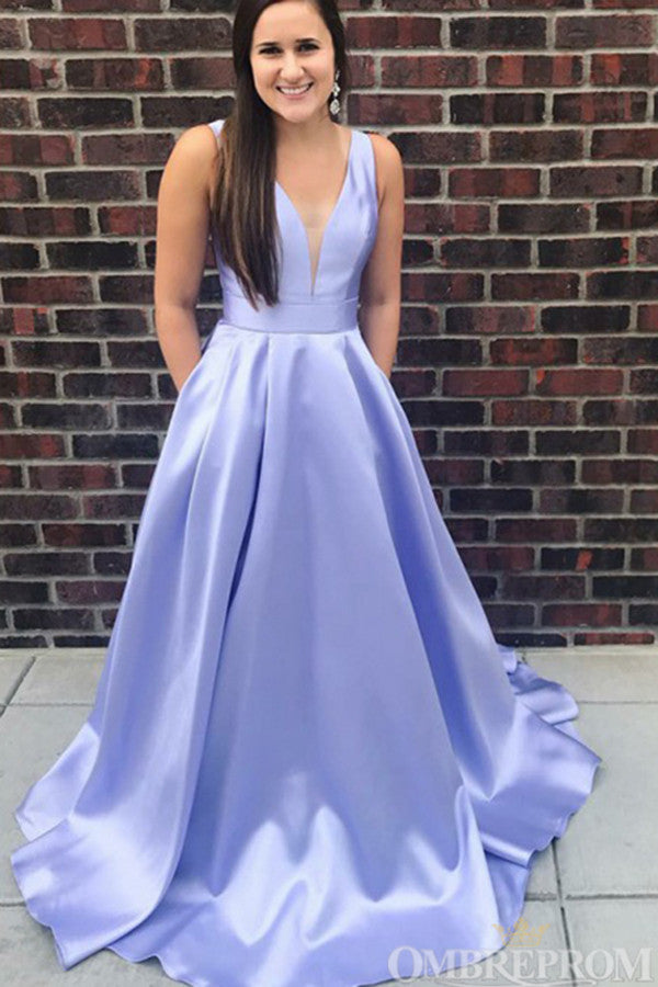 Simple Lavender Prom Dress Satin V Neck A Line Party Dress D146