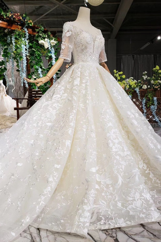 Luxury Lace Wedding Dress Scoop Half Sleeves Appliques Ball Gown W737