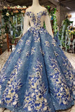 Stunning Long Sleeves Ball Gown Sequins Long Prom Dress with Appliques D324