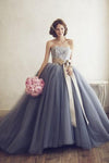 Elegant Sleeveless Lace Appliques Tulle Strapless With Bowknot Ball Gown Prom Dress P801