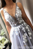V Neck Sleeveless A Line Prom Dress with Appliques D348