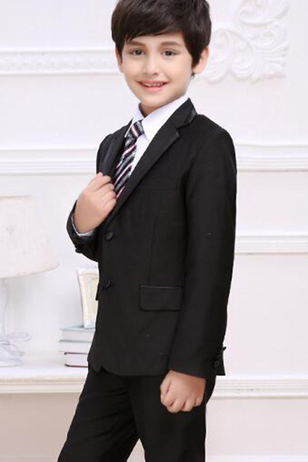 Balck Little Boys Slim Fit Suit Long Sleeves Ring Bearer Suits R03
