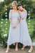 Chic Baby Blue Off Shoulder Chiffon Half Sleeves Bridesmaid Dress B309