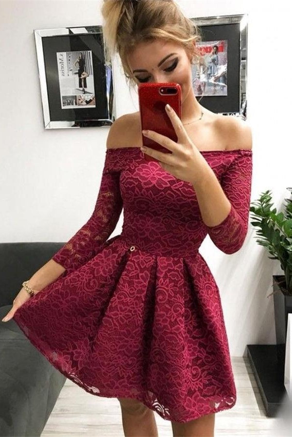 Pretty Lace Short Homecoming Dresses With Sleeves Party Dresses M822