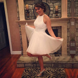 White Halter Homecoming Dresses,Keyhole Back Beading Short Prom Dress HCD131